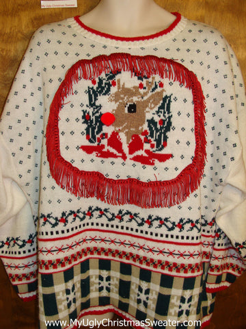 80s Corny Christmas Sweater Pullover with Rudolph Wmn Mens XXXL