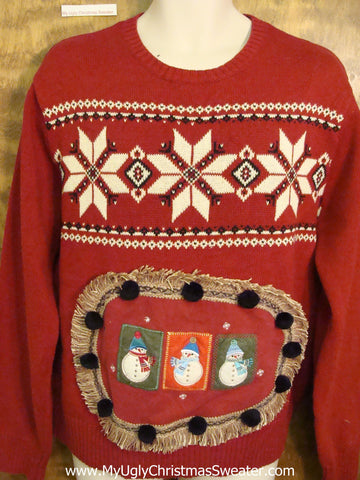 Corny Nordic Christmas Sweater Pullover with Pom Poms
