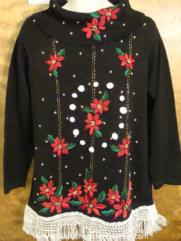 Tacky Corny Christmas Sweater Pullover with Poinsettias