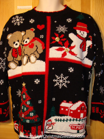 Tacky Ugly Christmas Sweater 80s Gem Acrylic with Bears, Snowman, Tree and Winter Wonderland (f319)