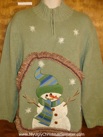 Snowman with Fringe Horrible Ugly Christmas Sweater Pullover