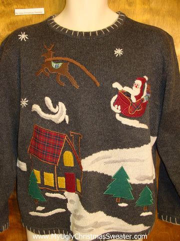 Lightening Speed Santa Horrible Ugly Christmas Sweater Pullover