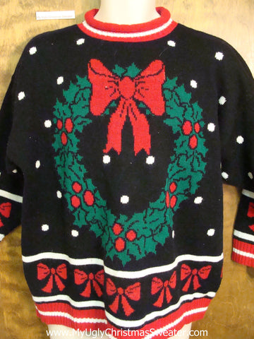 80s Tacky Wreath Horrible Ugly Christmas Sweater Pullover