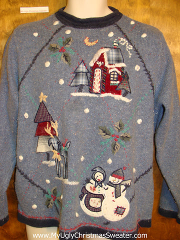 Horrible Blue Ugly Christmas Sweater Pullover with Snowmen