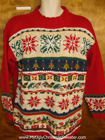 Horrible Tacky 80s Ugly Christmas Sweater Pullover