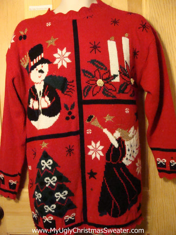 Tacky Ugly Christmas Sweater 2sided 80s Gem with Angel, Snowman, Candles, and Tree (f320)