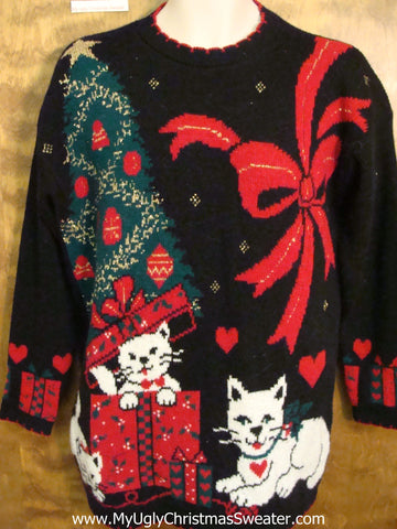 Crazy Cat Lady 80s Horrible Ugly Christmas Sweater Pullover