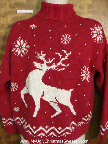 Vintage Reindeer 80s Horrible Ugly Christmas Sweater Pullover