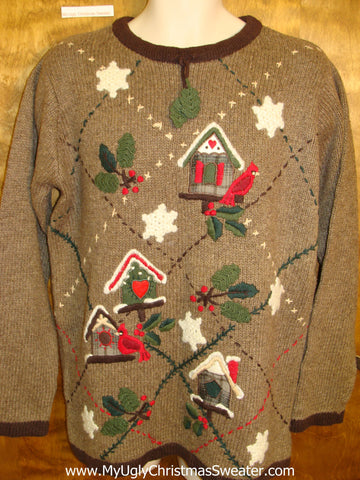 Horrible Brown Tacky Ugly Christmas Sweater Pullover