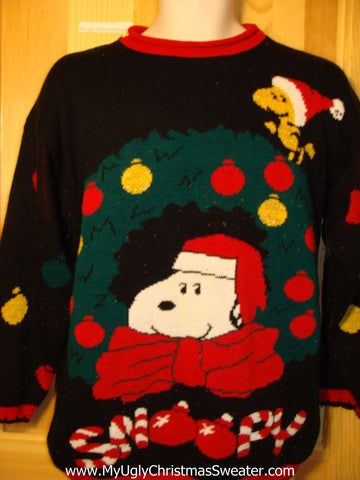 Snoopy 80s Classic Tacky Ugly Christmas Sweater with Giant Wreath and Candy Canes (f321)