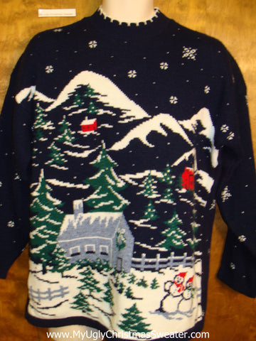 Horrible 80s Winter Wonderland Acrylic Ugly Christmas Sweater Pullover