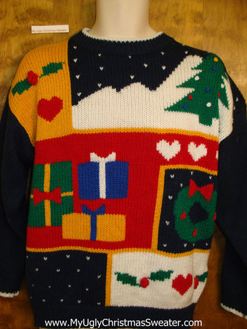 Horrible Retro Tacky Ugly Christmas Sweater Pullover