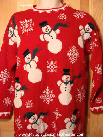 Tacky Ugly Christmas Sweater 2sided 80s Acrylic Gem with Snowmen and Snowflakes (f322)