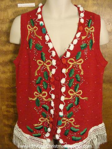 Horrible Red Ugly Christmas Sweater Vest with Fringe