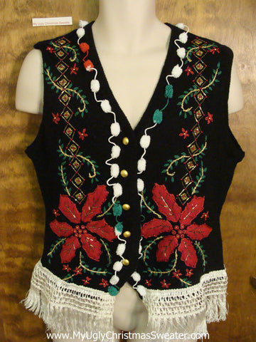Scary Huge Poinsettias Horrible Ugly Christmas Sweater Vest