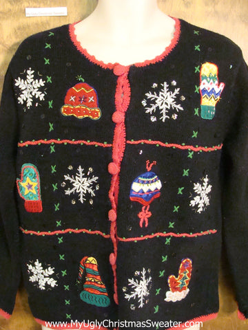 Horrible Black Ugly Christmas Sweater Cardigan