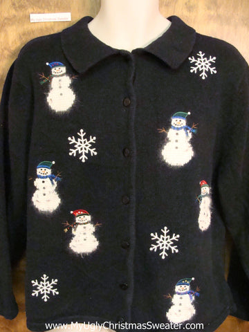 Horrible Ugly Christmas Sweater Cardigan with Fluffy Snowmen