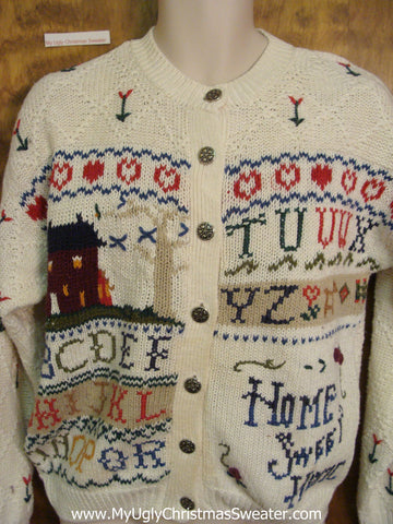 Crafty HOME SWEET HOME Ugly Sweater Cardigan