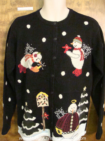 Funny Snowmen Angels Ugly Christmas Sweater Cardigan