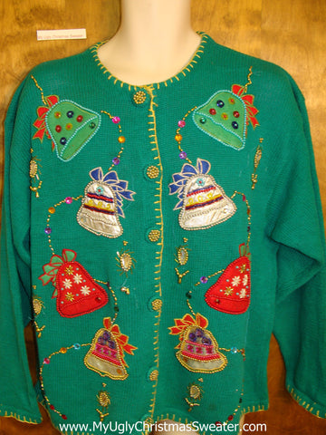 Horrible Bright Green Ugly Christmas Sweater Cardigan