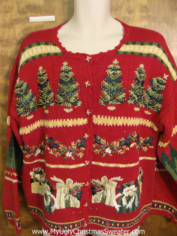 Red Hot Mess Horrible Ugly Christmas Sweater Cardigan