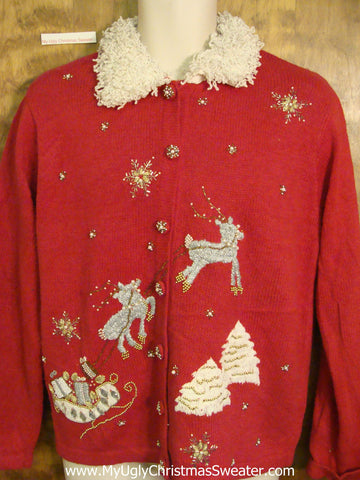 Flying Reindeer Red Ugly Christmas Sweater Cardigan
