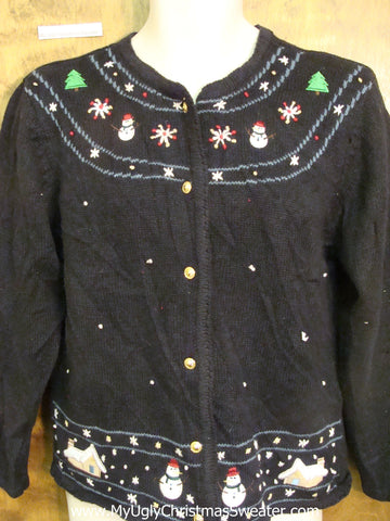 Super Cheap Black Ugly Christmas Sweater Cardigan