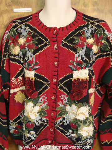 Horrible Hot Mess of Ugly Christmas Sweater Cardigan