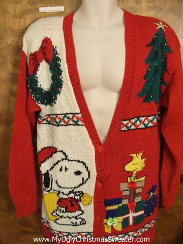 Snoopy Best 80s Ugly Christmas Sweater Cardigan