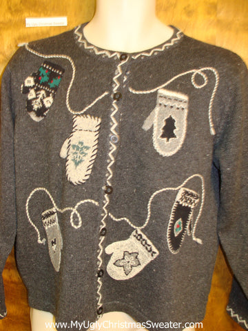 Mitten Party Horrible Ugly Christmas Sweater Cardigan