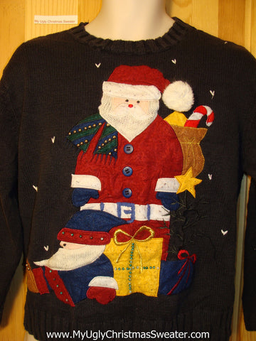 Tacky Ugly Christmas Sweater with Giant Santa (f325)