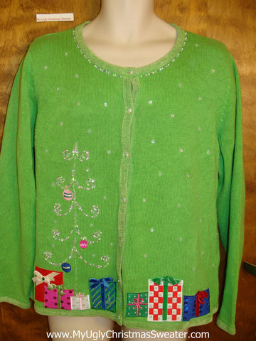 Lime Green Horrible Ugly Christmas Sweater Cardigan