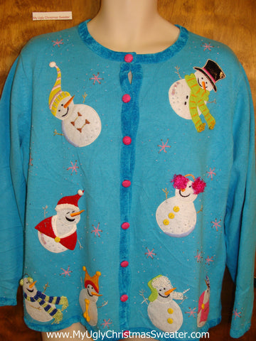 Bright Blue Cute Ugly Christmas Sweater Cardigan