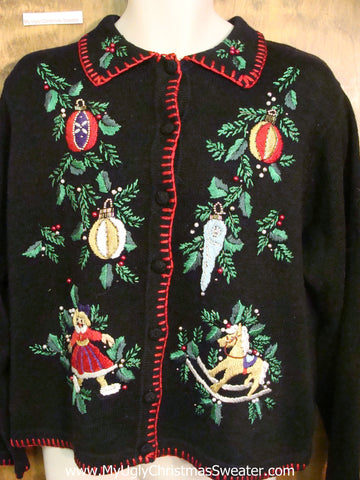 Horrible Fancy Ornaments Ugly Christmas Sweater Cardigan