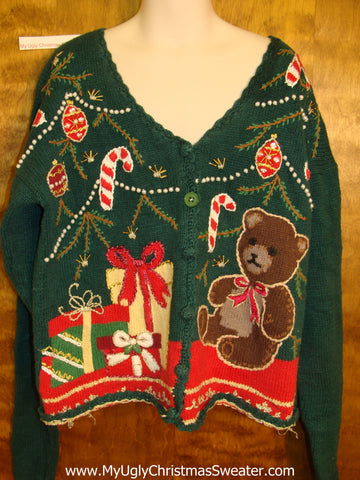 Child Size Horrible Ugly Christmas Sweater Cardigan