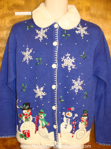 Bright Blue Horrible Ugly Christmas Sweater Cardigan