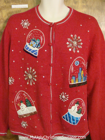 Snowglobe Party Ugly Christmas Sweater Cardigan
