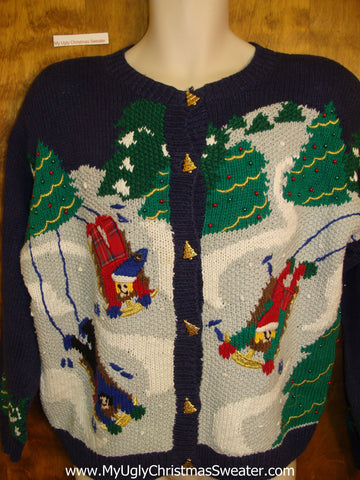 Sledding Friends 80s Ugly Christmas Sweater Cardigan