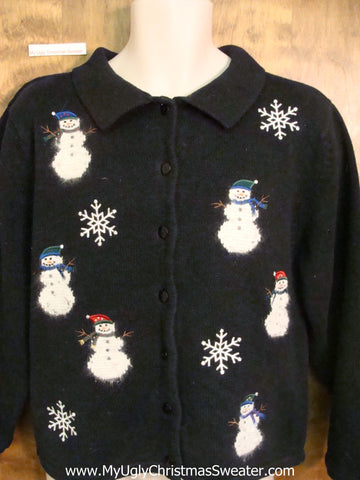 Furry Snowmen Ugly Christmas Sweater Cardigan