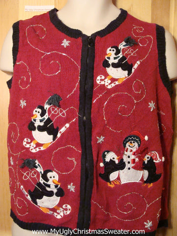 Tacky Ugly Christmas Sweater Vest with Penguins Skiing  (f326)