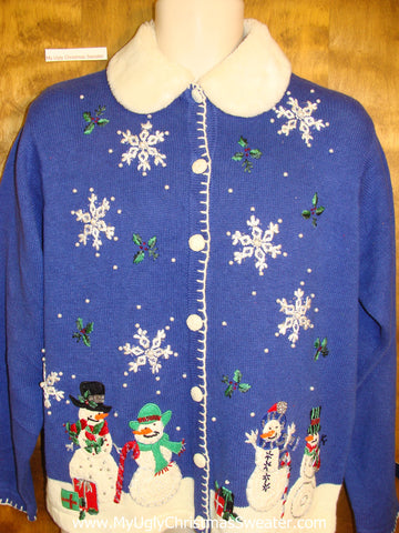 Bright Blue Ugly Christmas Sweater Cardigan