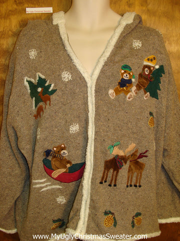 Horrible Brown Ugly Christmas Sweater Hoodie  XXXL