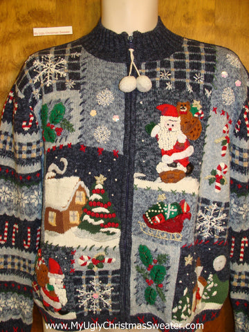 Horrible Ugly Christmas Sweater with Pom Pom Zipper Pull