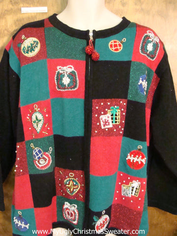 Colorful Blocks Tacky Horrible Ugly Christmas Sweater