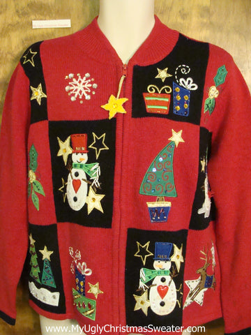 Stars and Snowmen Horrible Ugly Christmas Sweater