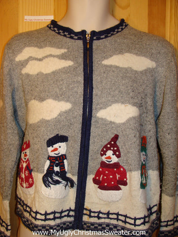 Tacky Ugly Christmas Sweater 2sided Winter Wonderland Scene with Snowmen (f327)