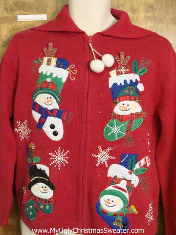 Four Snowmen Horrible Ugly Christmas Sweater