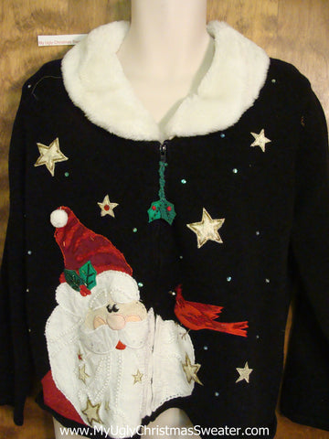 Horrible Ugly Christmas Sweater with Furry Collar
