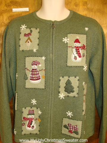 Pea Green Horrible Ugly Christmas Sweater