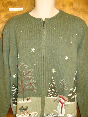 Horrible 2sided Pea Green Ugly Christmas Sweater